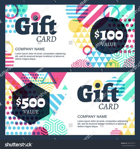 gift card flyer template vector creative gift voucher card background stock vector
