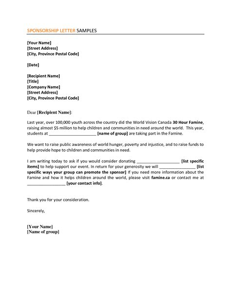 Sponsorship Letter Sle For Visa Tourist Sponsor Letters Thebridgesummit Co 28 Images 11 Corporate Sponsorship Letter Sle Mystock