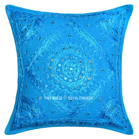 Turquoise Decorative Pillows 16x16 Turquoise Blue Decorative Bohemian Accent Mirrored