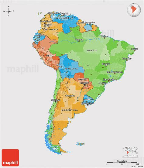 political map of south america political 3d map of south america cropped outside