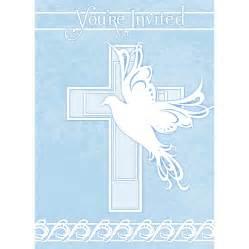 Dove cross blue baby boy christening baptism or communion invitations