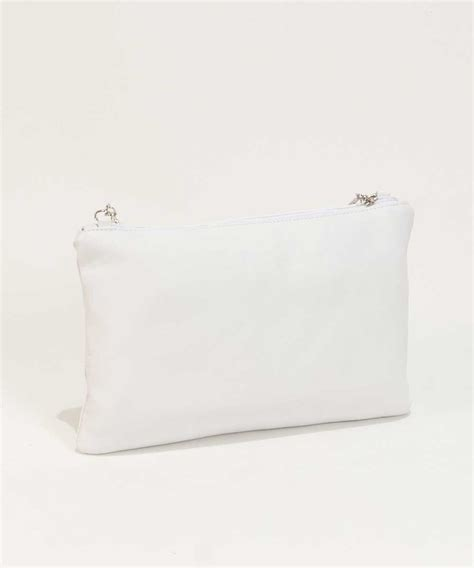 White Clutch leather clutch bag in white bag fashionista