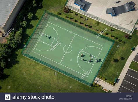 outdoor basketball court outdoor basketball court aerial view stock photo royalty
