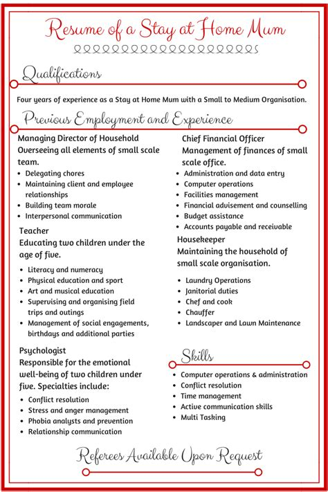 examples of resumes for stay at home moms 2 - Sample Resumes For Stay At Home Moms