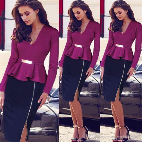 Working Wardrobe Uk by 2015 Uk Fashion Dresses Pencil Ruffles V Neck