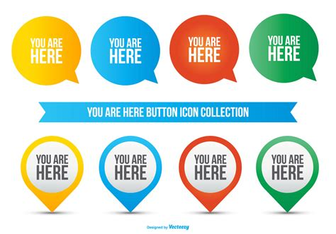 You Are Here you are here icon collection free vector