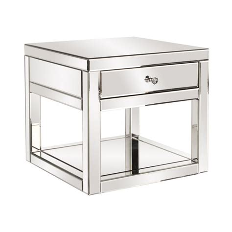 Mirrored Side Table Living Room Howard Elliott Mirrored Side Table With Drawer Living Room Furniture