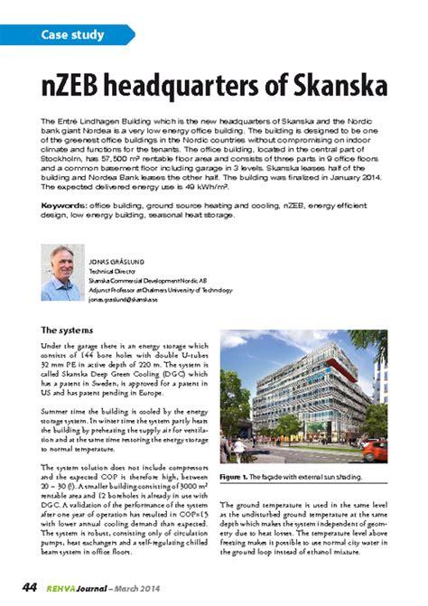 Rehva Journal 02 2014 Nzeb Headquarters Of Skanska