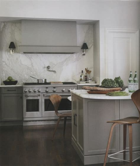 gray cabinets marble backsplash kitchen design