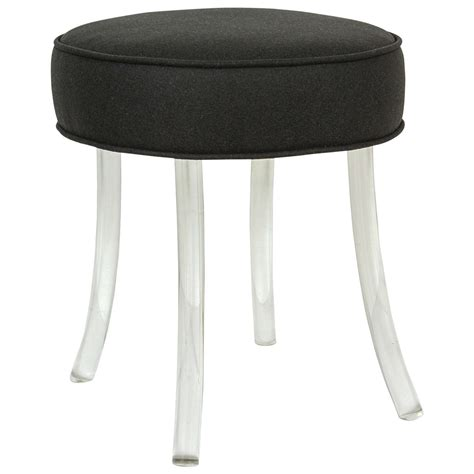 Upholstered Vanity Stools by Upholstered William Haines Vanity Stool With Lucite Legs