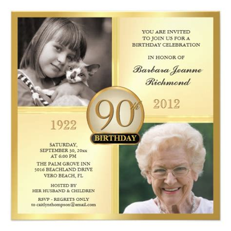 90th Birthday Invites Templates gold 90th birthday invitations then now 2 photos 5 25
