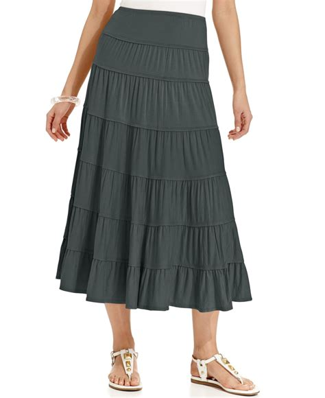 style co tiered maxi skirt in gray lyst