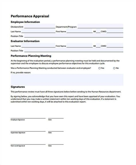 appraisal forms in pdf sle employee performance appraisal forms 8 free