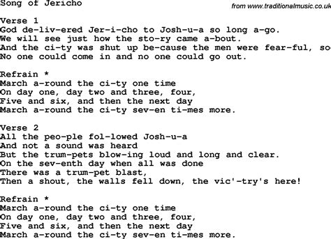 i fought the testo christian childrens song song of jericho lyrics