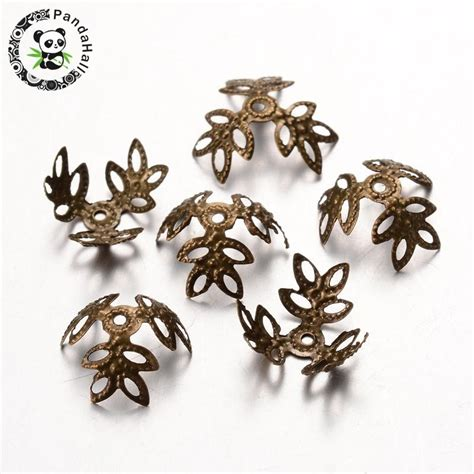 antique bronze iron bead caps nickel free 3 petal about 13mm in diameter 4mm thick