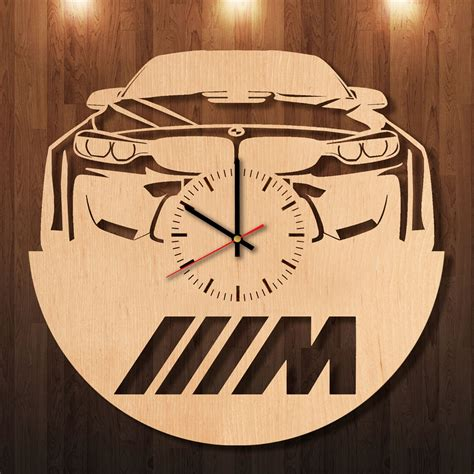Wall Clock Handmade - bmw m power handmade wood wall clock decor