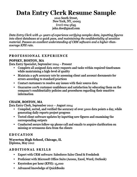 Data Entry Resume by Data Entry Clerk Resume Sle Resume Companion