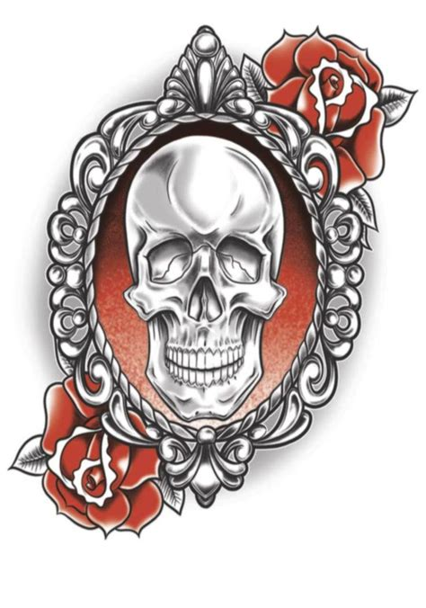 gothic rose tattoo skull skull roses