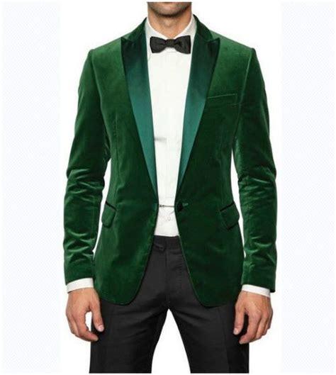 Green Blazer Coat new designer wedding groom tuxedo dinner green velvet