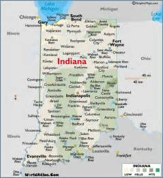 map of indiana large color map