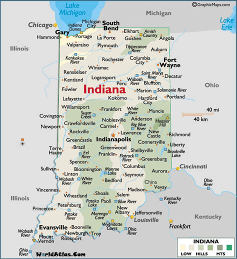 map usa indiana map of indiana large color map