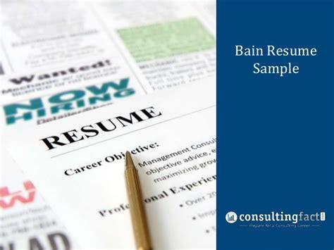 Consulting Cv Bain Bain Resume Sle