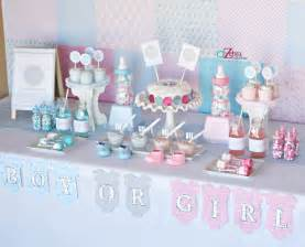 baby shower reception a gender reveal using chevron stripes and polka