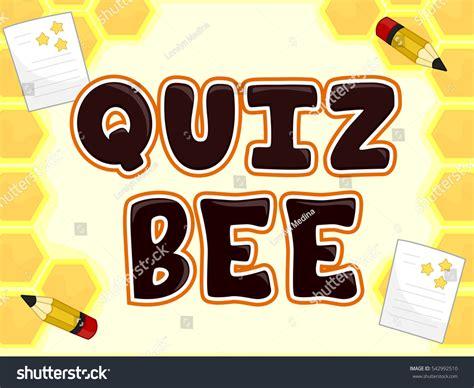 typography quiz typography illustration featuring phrase quiz bee stock