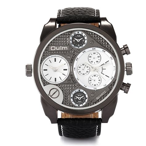 Oulm Analog Quartz Stainless Steel 9316 Original oulm 9316 s sports army leather dual time analog