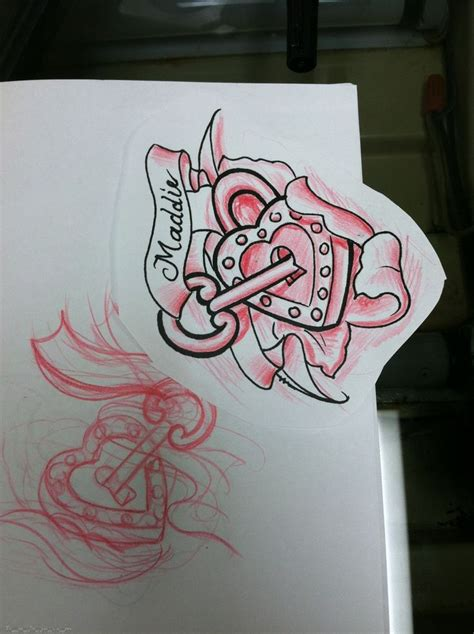 heart lock rose tattoo lock and key sketch for a by david meek