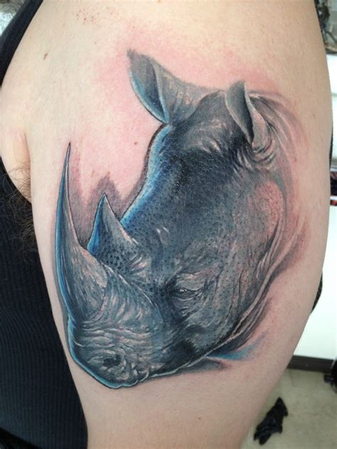 rhino tattoo beautiful wise rhino for mans tattooimages biz