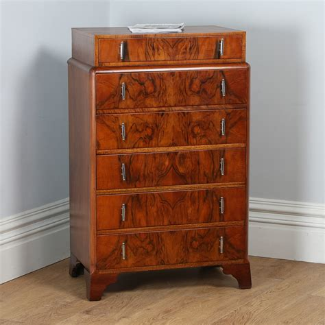 walnut drawers bedroom antique art deco figured walnut bedroom chest of drawers