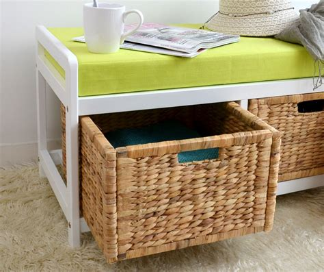 storage bench with cushion and baskets bench with green cushion and storage baskets storage