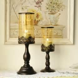 Romantic charming iron candle holders elegant glass lantern candle