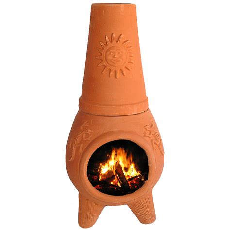 shop pr imports 32 in h x 16 75 in d x 16 75 in w clay - Chiminea Lowes