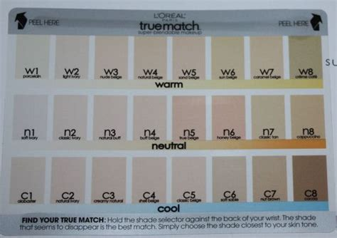 True Search L Oreal True Match Color Chart Search Makeup F 228 Rger Charts