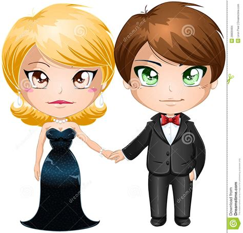 Couple In Evening Wear stock vector. Image of holding