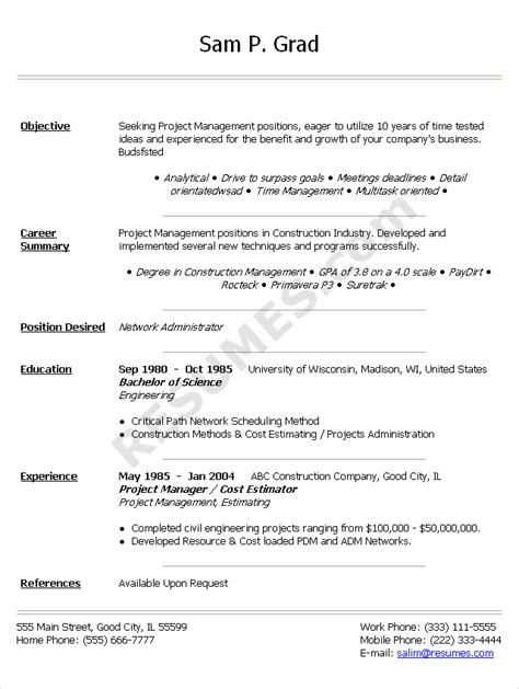 Resume Doc by Resume Sle Doc Free Excel Templates
