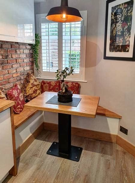 narrow dining table  bench  modern rustic
