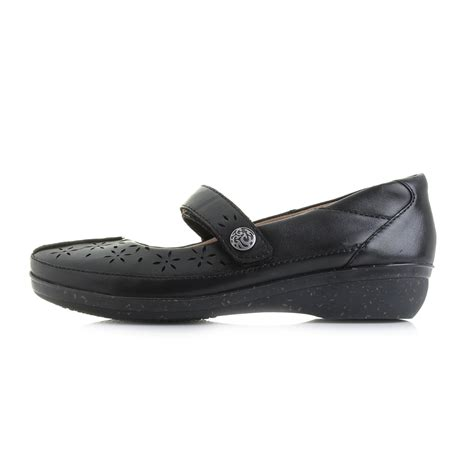 clarks flat black shoes womens clarks everlay bai black flat leather