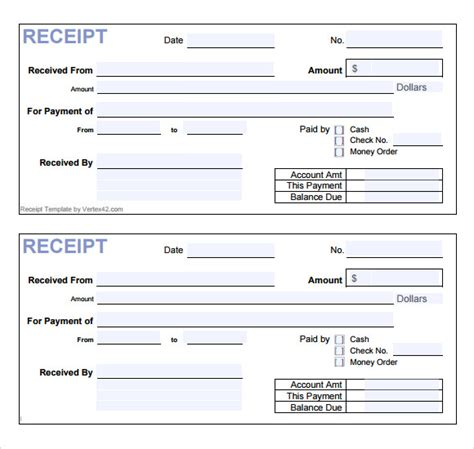 receipt template sle receipt template 13 free documents in pdf word