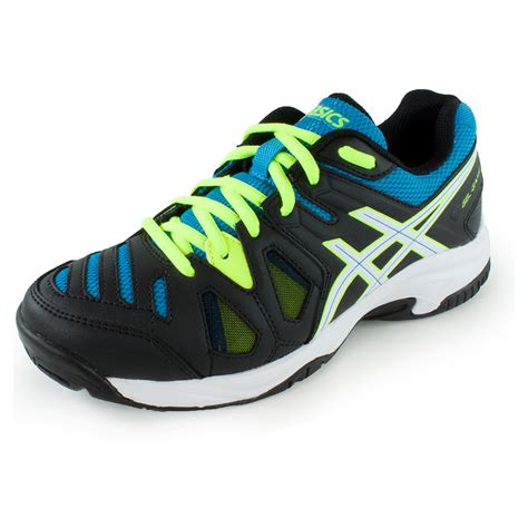juniors gel 5 tennis shoes onyx and atomic blue