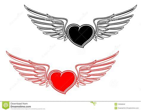 tattoo cuore e ali retro tatuaggio del cuore illustrazione vettoriale