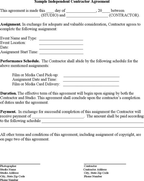 download sle independent contractor agreement 1 for