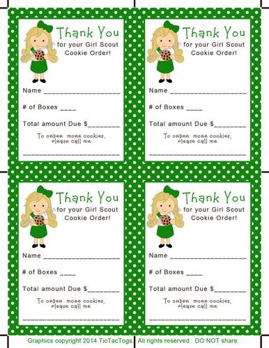scout thank you cards template cookie scout order sales receipt thank you pdf print