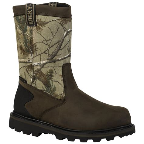 realtree boots rocky 174 8 quot waterproof pull on boots brown realtree