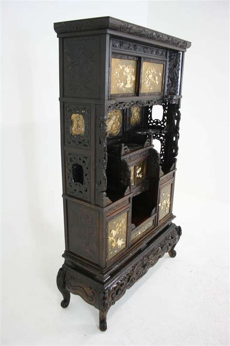 Japanese Curio Cabinet by Antique Japanese Black Laquered Inlaid Shadona Display