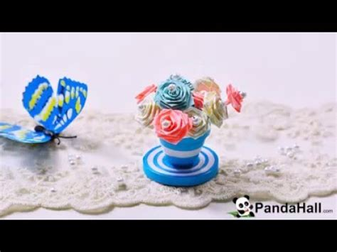 Pot Paper Flower Blue how to make a blue quilling paper flower pot and flowers