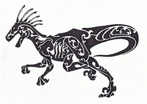 tribal dinosaur tattoo tribal velociraptor by helletic hybrid on deviantart