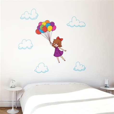Nursery Room Wall Stickers kids flying away with balloons printed wall decals